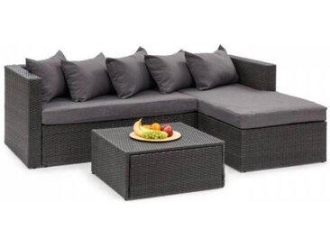 Blumfeldt Theia Lounge Salon de jardin complet polyrotin noir & gris foncé