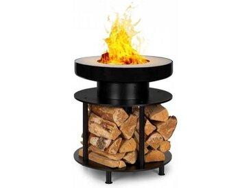 Blumfeldt Wood Stock 2-in-1 Braséro Ø56cm & grill barbecue acier noir