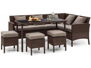 Blumfeldt Titania Lounge Salon de jardin complet polyrotin marron