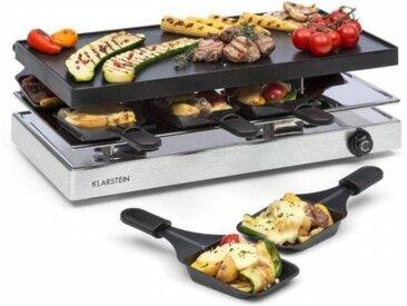 Klarstein Gourmette Appareil à raclette 8 personnes grill 1200W aluminium & inox