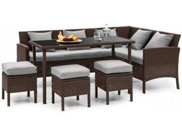 Blumfeldt Titania Lounge Salon de jardin complet polyrotin marron & gris clair