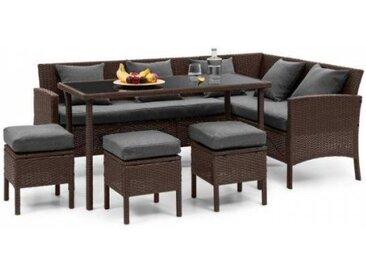 Blumfeldt Titania Lounge Salon de jardin complet polyrotin marron & gris foncé