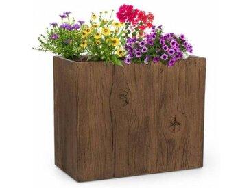 Blumfeldt Timberflor Bac à fleurs 60 x 50 x 30 cm fibre de verre - marron