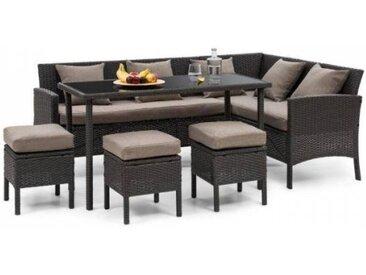 Blumfeldt Titania Lounge Salon de jardin complet polyrotin noir & marron