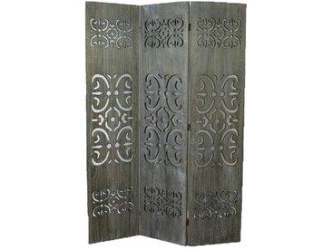PEGANE Paravent bois gris avec sculptures sur bois - 3 pans