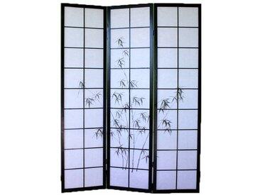 PEGANE Paravent bois noir avec dessin bambou noir - 3 pans