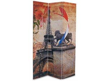 PEGANE Paravent en bois avec toile imprimé Tour Eiffel de 3 pans