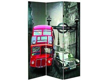 PEGANE Paravent Decker Bus multicolore de 3 pans - L120 x P3 x H180 cm