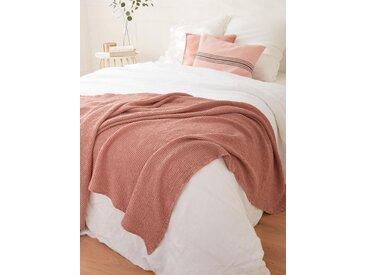 Plaid coton gaufré rose des sables