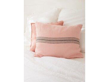 Housse de coussin lin lavé rayé rose des sables