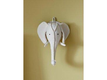 Trophée tête d'éléphant en feutrine ivoire
