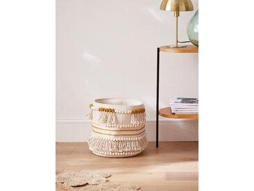 Panier coton à franges, haut. 30 cm ocre/naturel