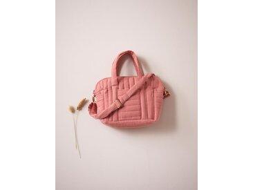 Petit sac à langer matelassé en gaze de coton rose terracota