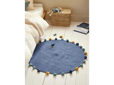 Tapis rond pompons en coton bleu marine