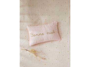Petit coussin gaze de coton broderie dorée rose clair