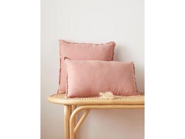 Coussin frangé lin lavé rose des sables
