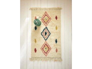 Tapis style berbère pure laine - grand format ivoire / multicolore