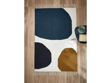 Tapis motifs ronds pure laine - grand multicolore