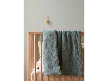 Plaid bébé en gaze de coton vert