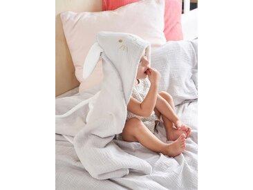 Plaid bébé lapin en coton gaufré et micro-polaire gris clair