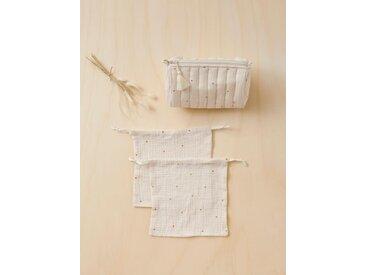 Trousse de toilette et pochons brodés ivoire/étoile caramel