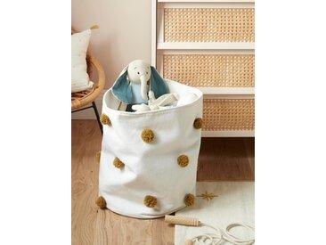 Panier coton pompons, diam. 40 cm blanc
