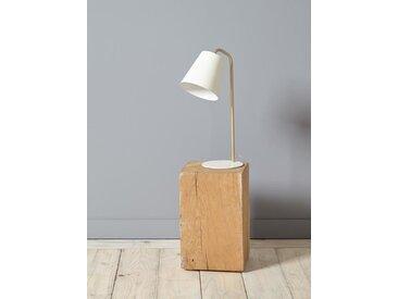 Lampe cloche en métal ivoire/doré