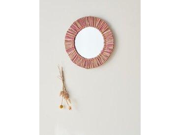Miroir rond herbier bicolore rose/naturel