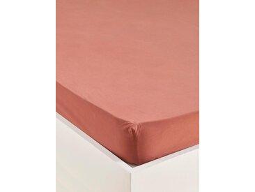 """Drap-housse percale de coton """"Libby"""" terracotta"""