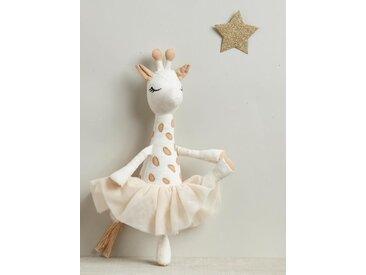 Peluche girafe tutu beige/rose pâle
