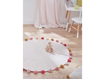 Tapis rond pompons en coton rose