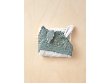 Plaid bébé en coton gaufré et micro-polaire vert