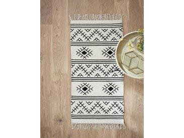 Tapis ethnique tissé laine/coton - petit ivoire