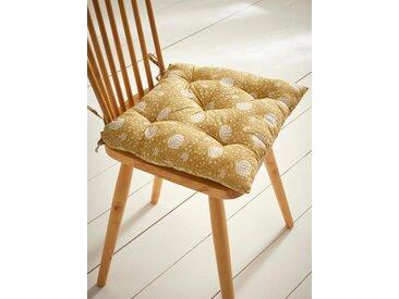 Coussin de chaise tissu indien fleuri ocre