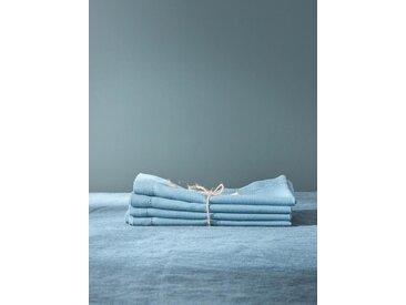 Serviette de table anti-taches aspect lin par lot de 4 bleu clair