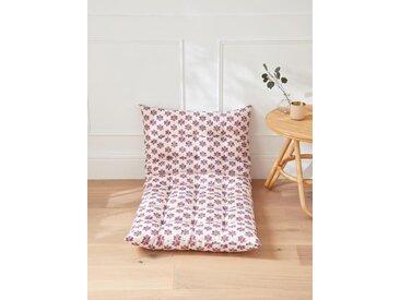 Matelas style futon tissu indien fleuri rose/bleu