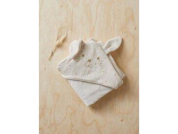 Plaid bébé en coton gaufré et micro-polaire ivoire/ etoile caramel