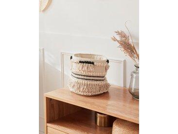 Panier coton à franges, haut. 20 cm noir/blanc