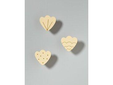 Patère coquillage par lot de 3 ivoire / doré