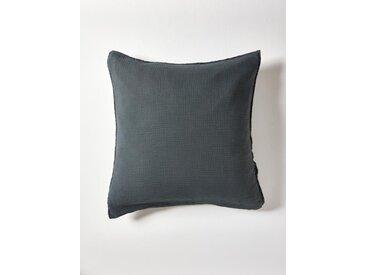 """Taie d'oreiller en gaze de coton """"Gaufrée"""" bleu orion"""