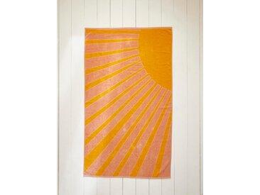 Drap de plage Soleil coton velours jaune/rose