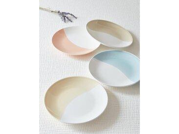 Assiette céramique pastel par lot de 4 blanc / pastel