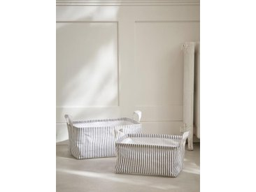 Panier à linge rectangle par lot de 2 blanc / rayé noir