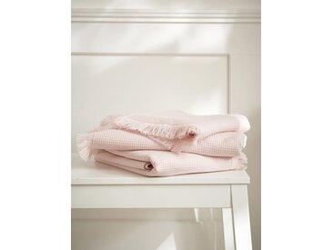 Serviette de toilette nid d'abeille rose nude