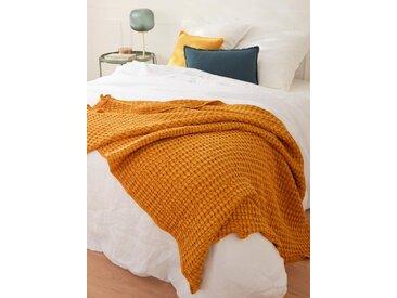 Plaid coton reliefé jaune