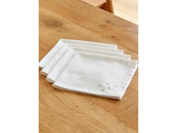Serviette de table coton/lin par lot de 4 blanc/doré