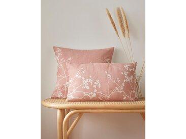 Housse de coussin fleurie pur lin rose clair