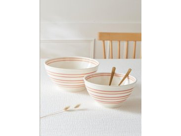 Saladier céramique rayée par lot de 2 blanc rayé rouge/jaune