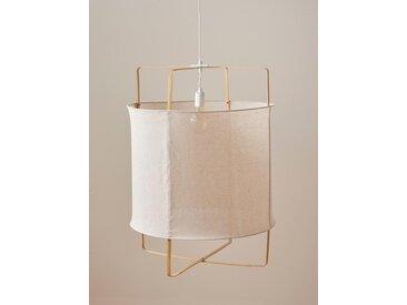 Suspension bambou et lin naturel/blanc
