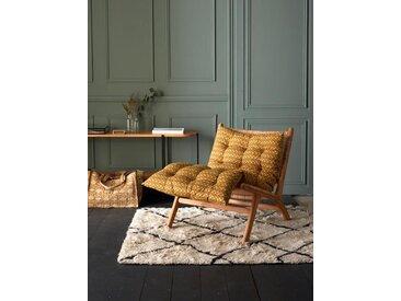 Matelas futon tissu indien fleuri bronze/marine